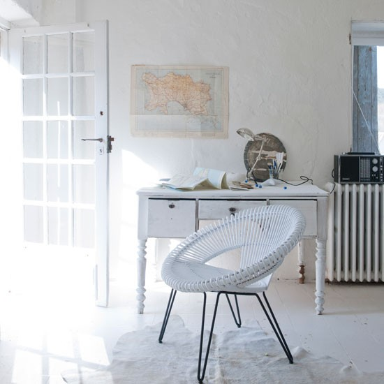 All white home office with vintage furniture | Study | Workspace | Decorating ideas | Housetohome | PHOTO GALLERY