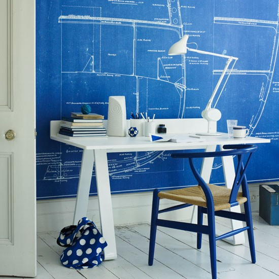 Blue and white home office with white wooden floor | Study | Workspace | Decorating ideas | Housetohome | PHOTO GALLERY