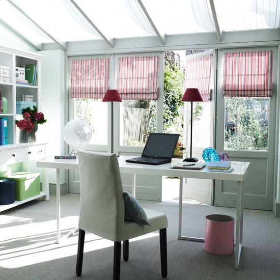 Light home office with white storage unit and striped blinds | Study | Workspace | Decorating ideas | Storage | Housetohome | PHOTO GALLERY