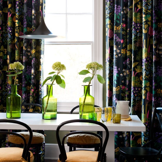 Classic dining room with floral curtains and white dining table | Tableware | Housetohome | Decorating ideas | PHOTOGALLERY