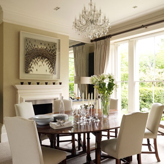 Dark wood and neutrals classic dining rooms 10 of the for Dining room interior design ideas uk