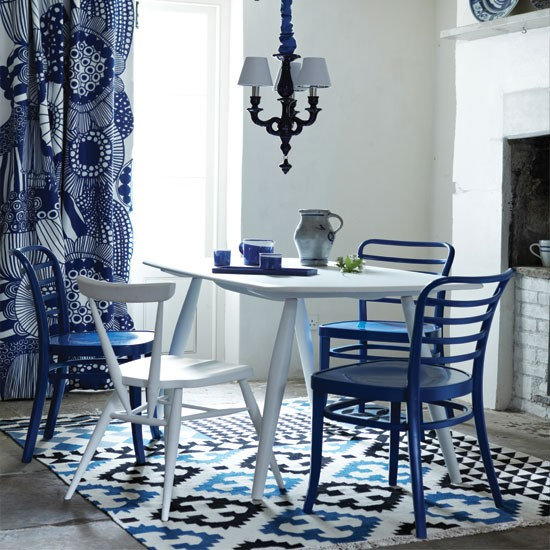Modern blue and white dining room dining room decorating for White dining room decor
