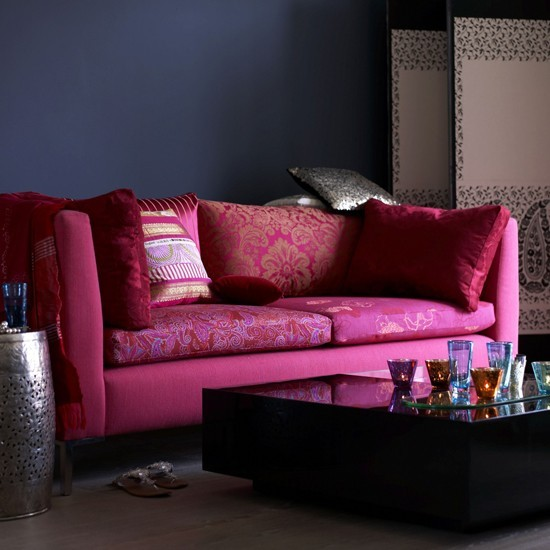 Indigo and pink living room | Living room colour schemes - 10 of the best | Living room decorating ideas | PHOTO GALLERY | Livingetc