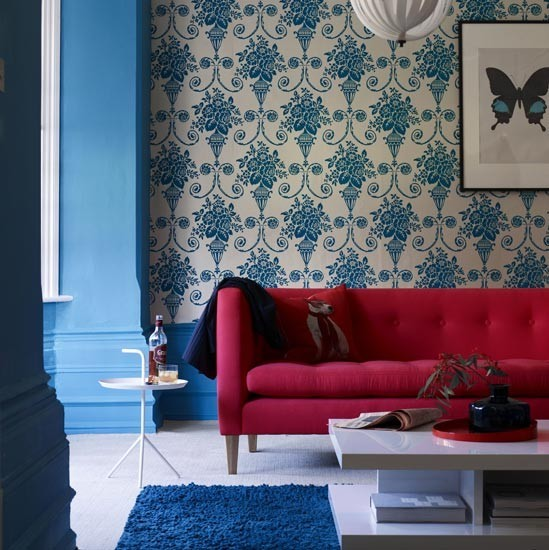 Coral and blue living room | Living room colour schemes - 10 of the best | Living room decorating ideas | PHOTO GALLERY | Livingetc