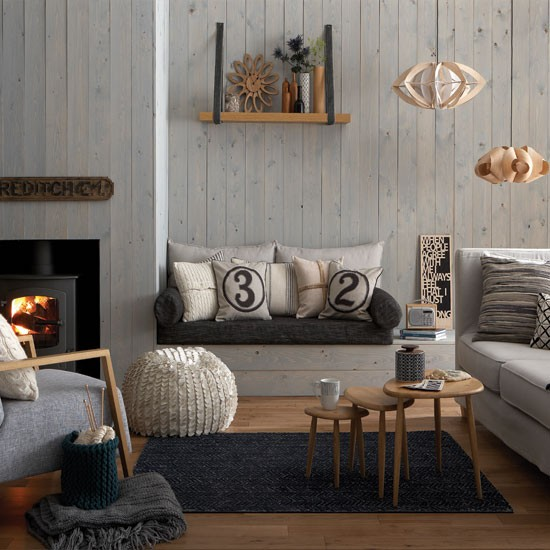 Cosy grey and warm oak living room living room for Living room designs grey