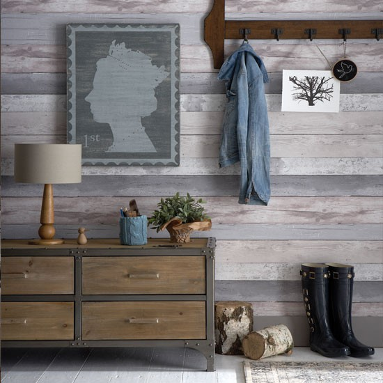 Rustic wood look hallway hallway decorating ideas - Wood effect wallpaper living room ...