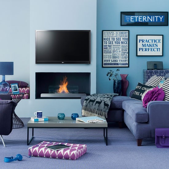 Modern blue living room living room decorating ideas for Blue themed living room ideas