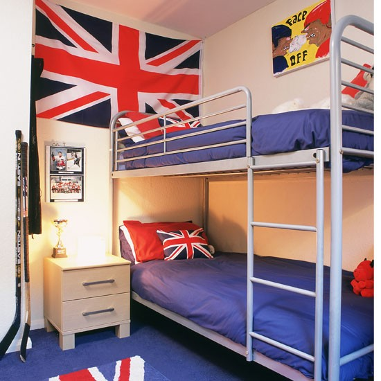 Small Boys Bedroom With Bunk Beds And Union Flag