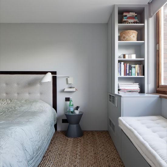 Pale grey bedroom with storage  Bedroom decorating ideas  Bedroom ...