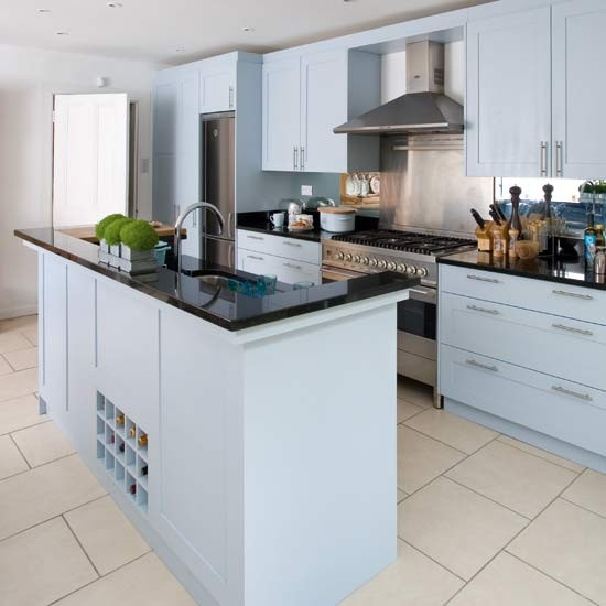 Island unit take a tour around a duck egg blue kitchen for Duck egg blue kitchen island