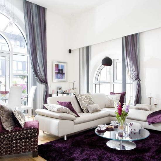 Fabulous Purple Living Room With Grey White And