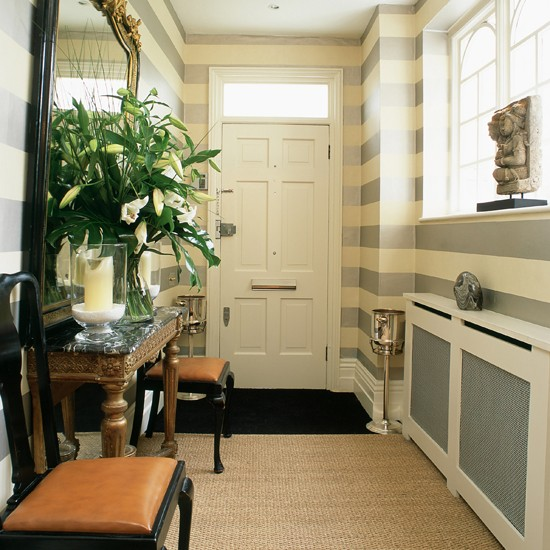Hallway with statement horizontal stripes hallway colour Hallway colour scheme ideas