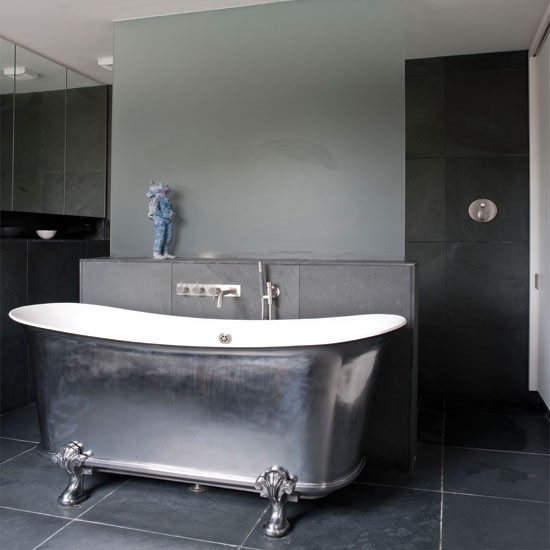 Modern metallic bathroom | Bathroom decorating ideas | Bathroom | Livingetc | IMAGE | Housetohome.co.uk