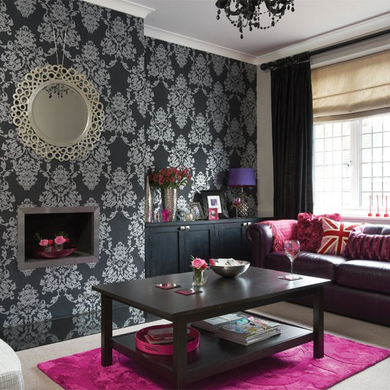 Bold black and silver living room living room - Black accessories for living room ...