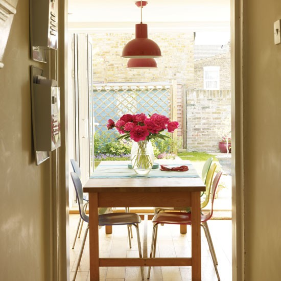 Neutral dining room with bi fold doors dining room for Neutral dining room ideas