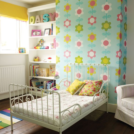 Modern floral girl 39 s bedroom childrens room for Bright bedroom wallpaper