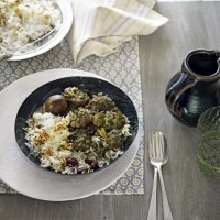 Persian lamb and herb stew with dried limes, served with Persian rice