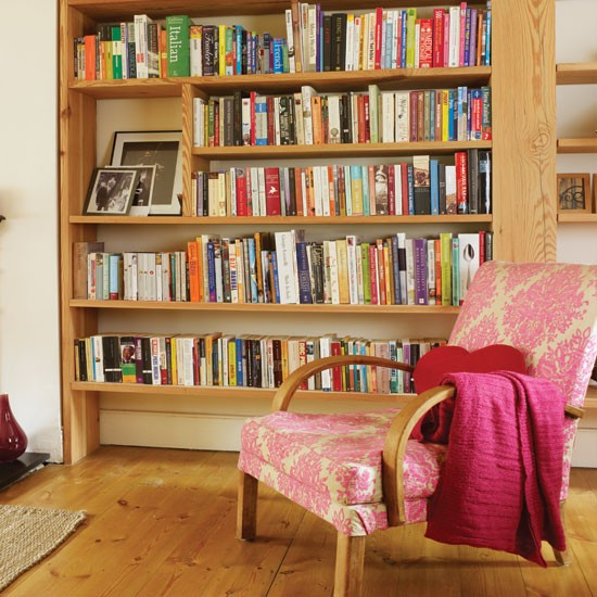Wood living room with bookcase | Living room decorating ideas | Living room | Style At Home | IMAGE | Housetohome.co.uk