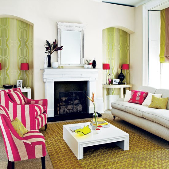 Bold patterned living room | Living room decorating ideas | Living room | Homes & Gardens | IMAGE | Housetohome.co.uk