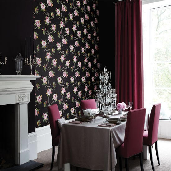 Dramatic dining room with feature wall dining room for Wallpaper for dining room feature wall
