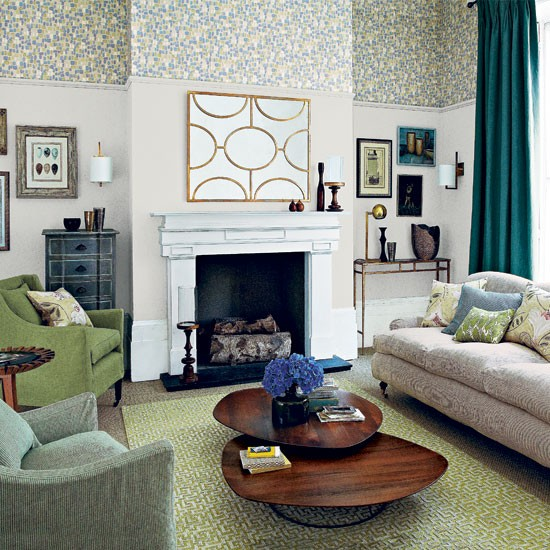 Neutral and green patterned living room living room for Neutral green living room