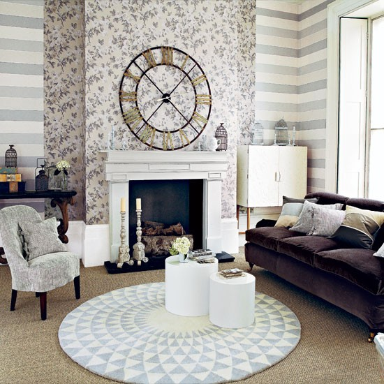 Neutral patterned living room living room housetohome for Neutral living room ideas