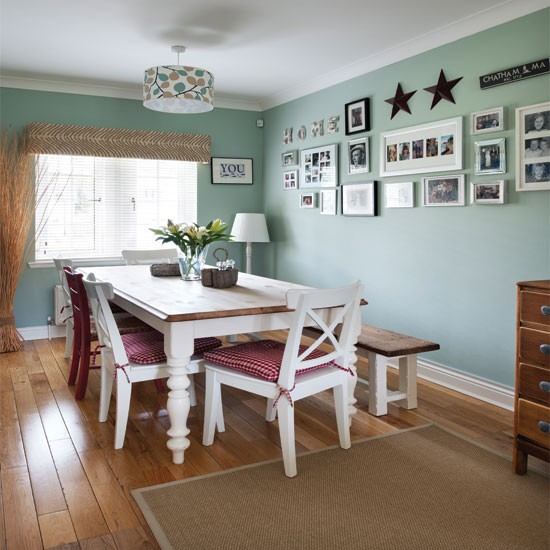 Pale green country dining room for Country dining room