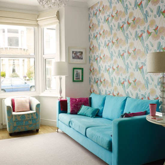 Colourful pattern living room | Living room decorating ideas | Living room | Style At Home | IMAGE | Housetohome.co.uk
