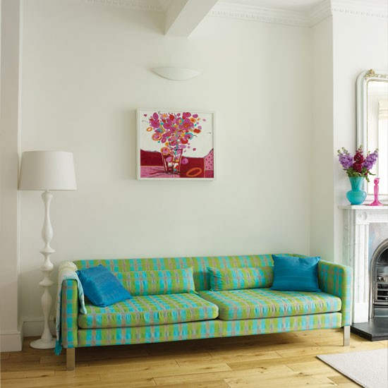 Modern living room with bright accessories | Living room decorating ideas | Living room | Style At Home | IMAGE | Housetohome.co.uk