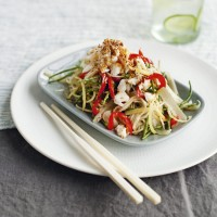 Stir-fried crab noodles with samphire