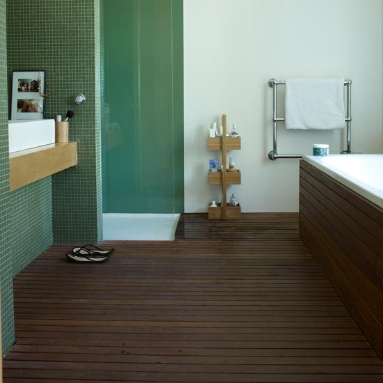 Slatted teak modern bathroom flooring ideas for New bathroom floor ideas