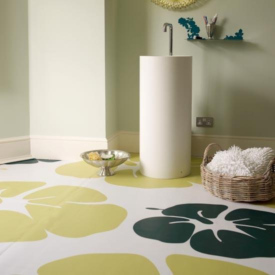 Patterned vinyl modern bathroom flooring ideas for Modern bathroom flooring ideas