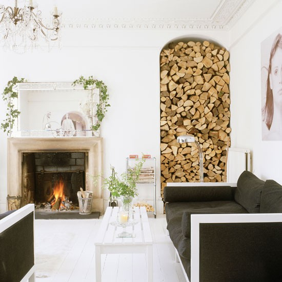 Log store feature clever designs for alcoves for Log storage ideas