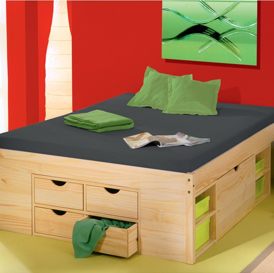 rollo solid pine continental double storage bed from