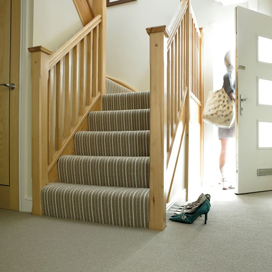 Natural Co ordinates Striped Carpet in Seaweed from