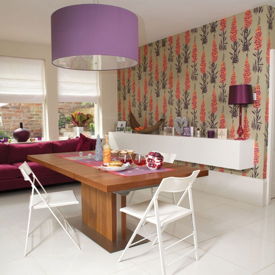 modern dining room with wallpaper dining room