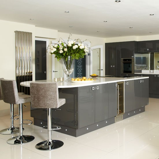 Sleek grey kitchen kitchen for Sleek modern kitchen ideas