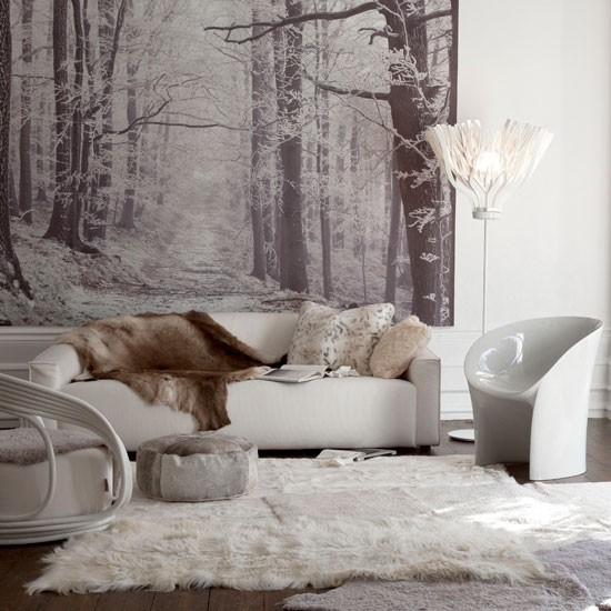 Modern living room with woodland mural
