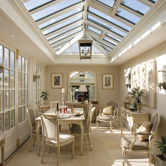 Light and neutrally painted conservatory dining room with antique French furniture | Garden Room | Orangery | Decorating Ideas | Housetohome | PHOTOGALLERY