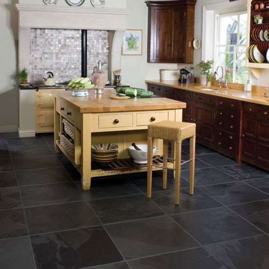 Rough hewn country style flooring how to choose country for Country kitchen flooring