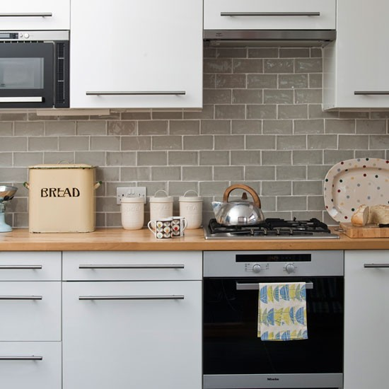 White gloss kitchen mid century style edwardian terrace for Tiles to go with a grey kitchen