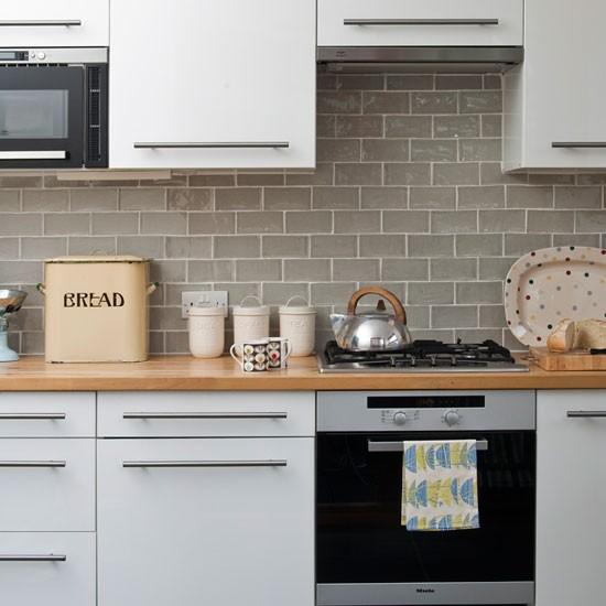 White gloss kitchen mid century style edwardian terrace for Retro kitchen ideas uk