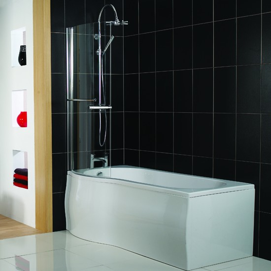 Bathroom Design Shower Over Bath : P shaped shower bath from victoria plumb baths