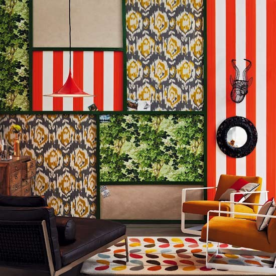 Different wallpaper designs in square panels in retro room