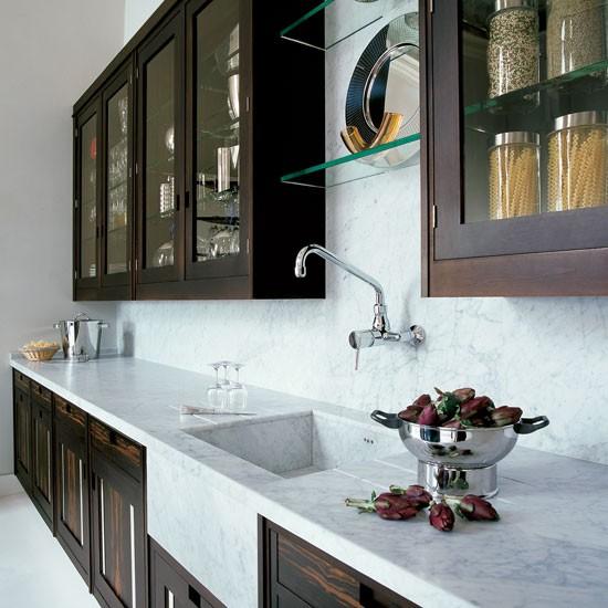 Butler pantries kitchens design open shelves glasses for Are all quartz countertops the same