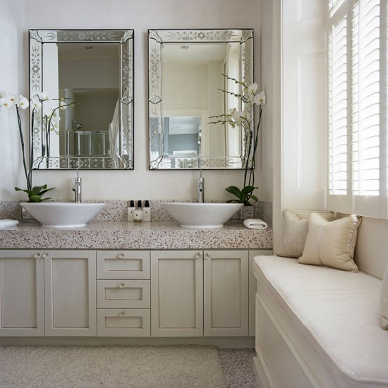 White bathroom with built in storage and window seat | Bathroom decorating ideas | Housetohome | PHOTOGALLERY