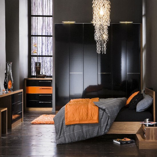 Gloss fitted bedroom furniture from neville johnson - Orange and black room decor ...