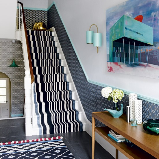 Modern hallway with geometric prints | Hallway designs | Hallway stairs | Housetohome