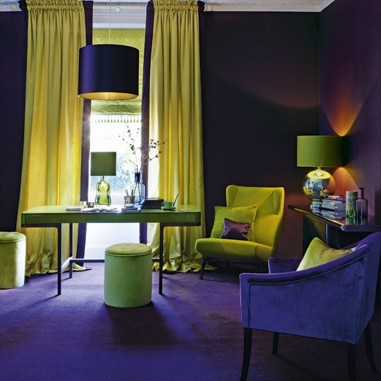 Delicious decor colourful creatures to inspire your for Purple and green living room ideas