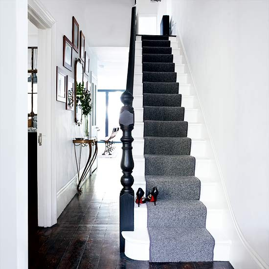 Sophisticated hallway | Modern hallway designs | Hallway stairs runner | Housetohome